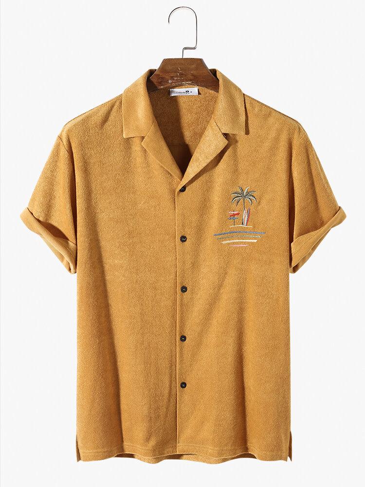 Banggood coupon: Camisas masculinas de tecido turco Toalha palmeira bordada cabana