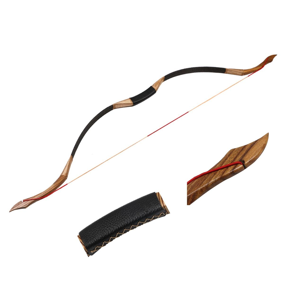 50lbs Traditional Archery Hunting Handmade Recurve Bow Mongolian Horse Longbow Bowstrings