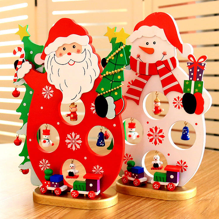 Christmas 2017 DIY Cartoon Wooden Santa Claus Ornament Table Desk Decoration Christmas Gifts - 1