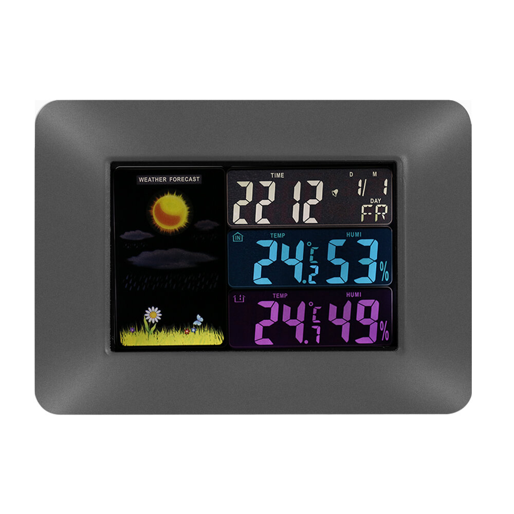 Multi-functional Wireless Digital Thermometer Hygrometer Colorful LCD Weather Forecast Clock with Alarm Snooze Calendar Function