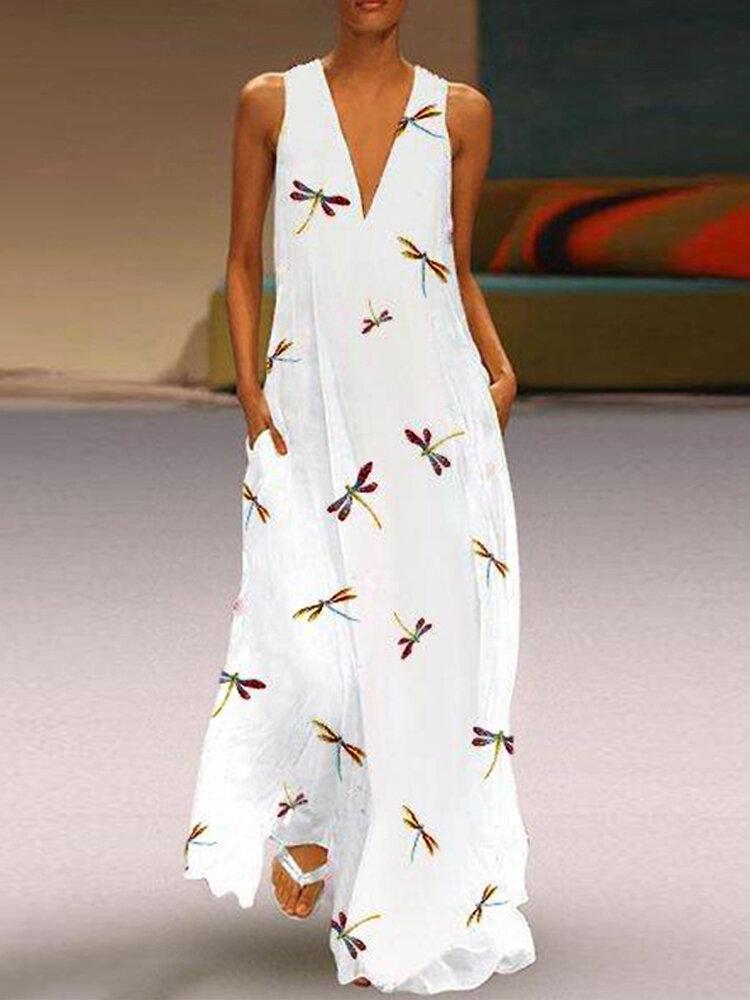 Women Retro Solid Color Back Zipper Puff Sleeve Loose Casual Maxi Dress - 1
