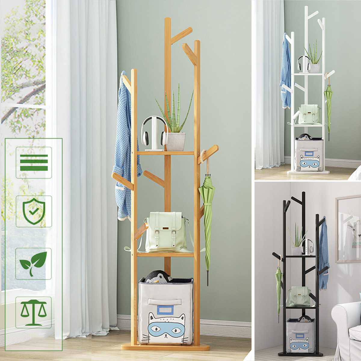 Solid Wood Triangle Clothes Hanger Floor Coat Rack Stand 8 Hooks Home Storage Clothes Hanging Wooden Hanger Bedroom Dryi