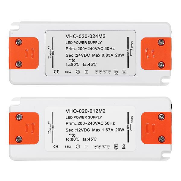 DC100V / DC24V 20W बिजली आपूर्ति प्रकाश ट्रांसफार्मर एलईडी चालक के लिए AC100-240V / AC220-240C
