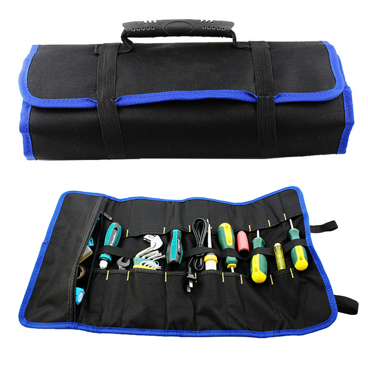Hardware Tool Plier Driver Spanner Carry Case Pouch Roll Bag 19 Pockets