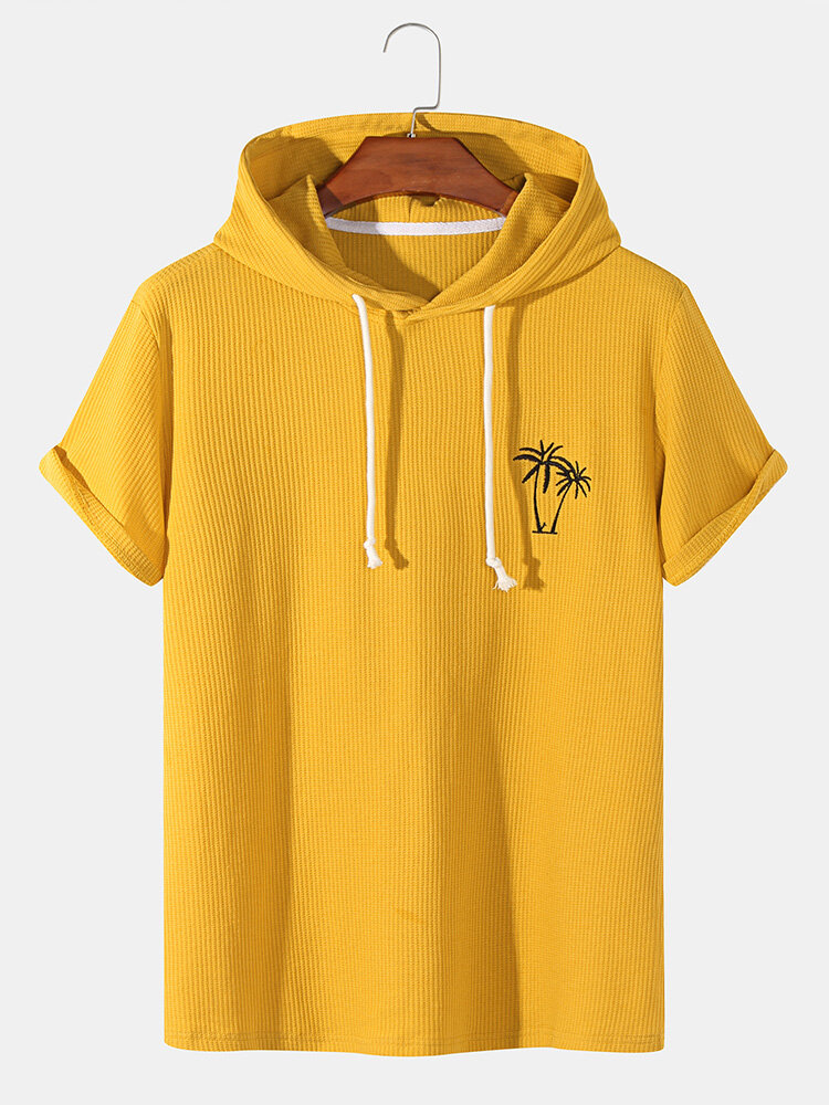 Mens Knitted Texture Coconut Tree Embroidery Hooded Drawstring T-Shirts
