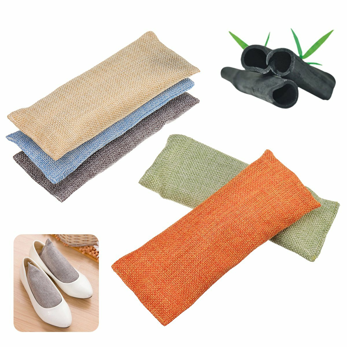 2 Bags Activated Bamboo Charcoal Air Purifying Bag For Shoes Sneakers Bags Fridge Freezers Drawer Tray Room Home Car
