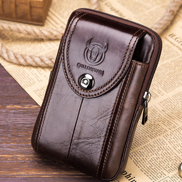 4.7 to 6 Inches Cell Phone Pouch Genuine Leather Waterproof Waist Pack For Men - 10