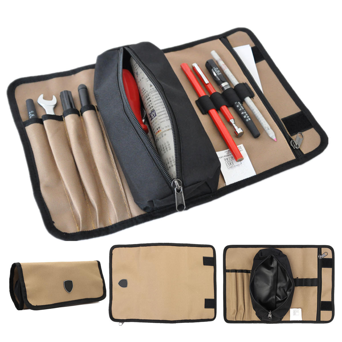 Durable Waterproof Canvas Electrician Roll Up Hardware Tool Bag Storage