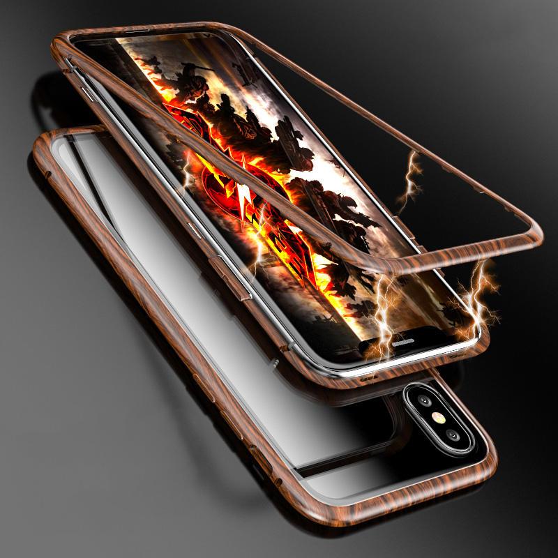 Luphie Tre Mønster Magnetisk Adsorbsjonsmetall Herdet Glass Beskyttelsesveske For iPhone X