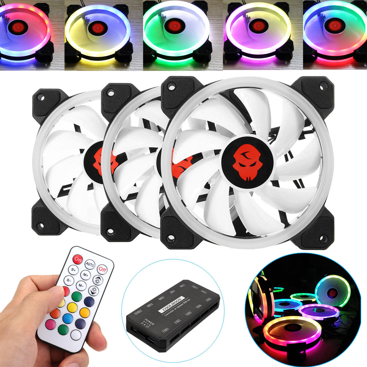 Coolmoon 6PCS 120mm Multilayer Backlit RGB Cooling Fan Computer Case PC CPU Cooling Fan with the Remote Control - 1
