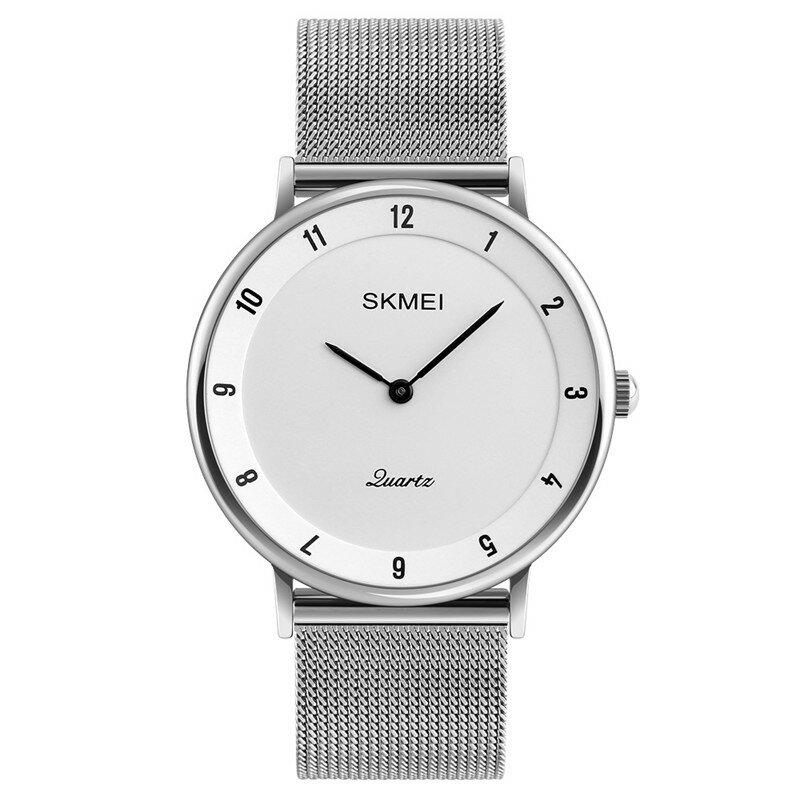 SKMEI 1264 Casual Style Ultra Thin Men Watch Besi tahan karat Wristband Kuarsa Movement Watch
