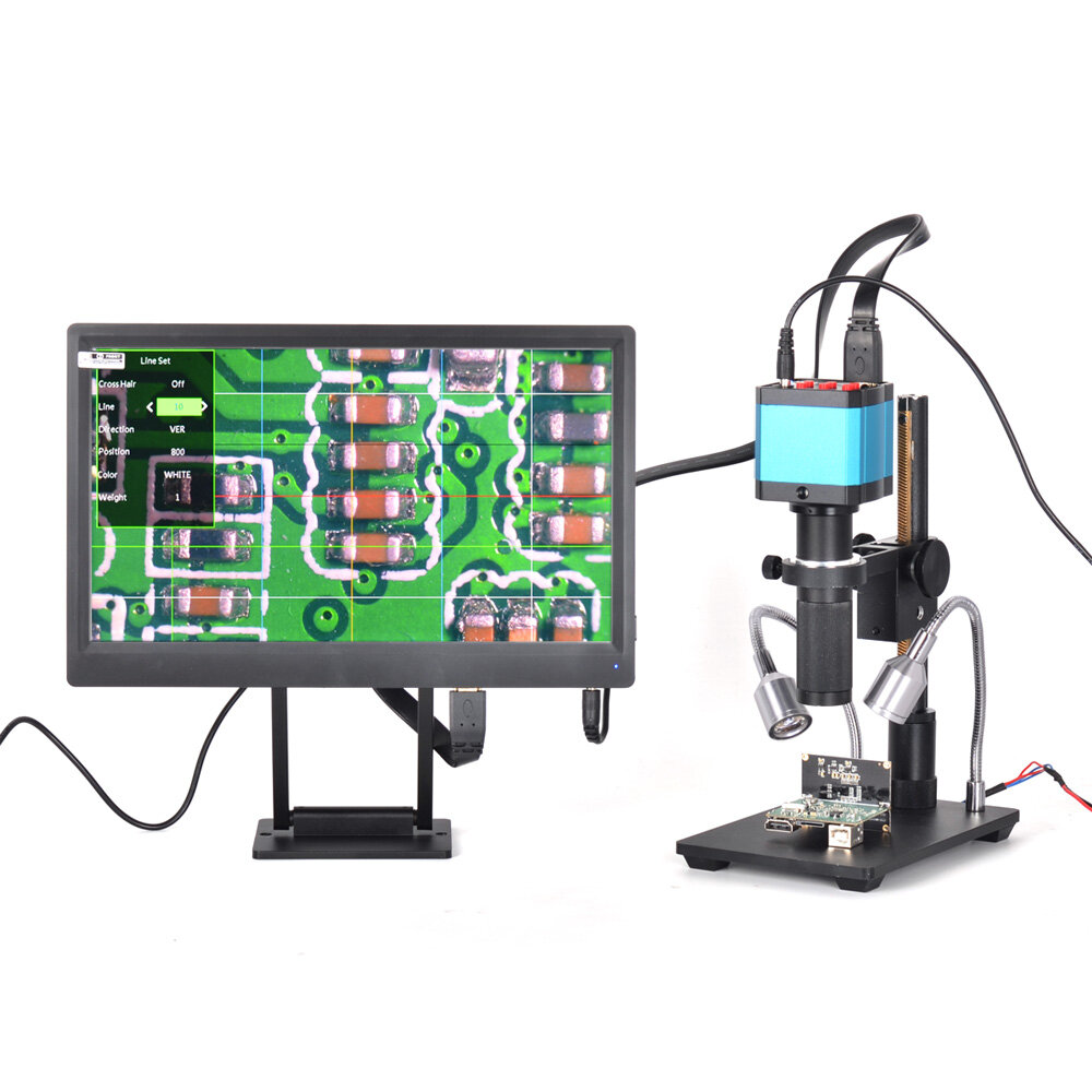 Efix 3.5-45X 13MP Trinocular Stereo Soldering Microscope Stand Lens Digital Camera for Repair Mobile Phone Tools Kits - 1