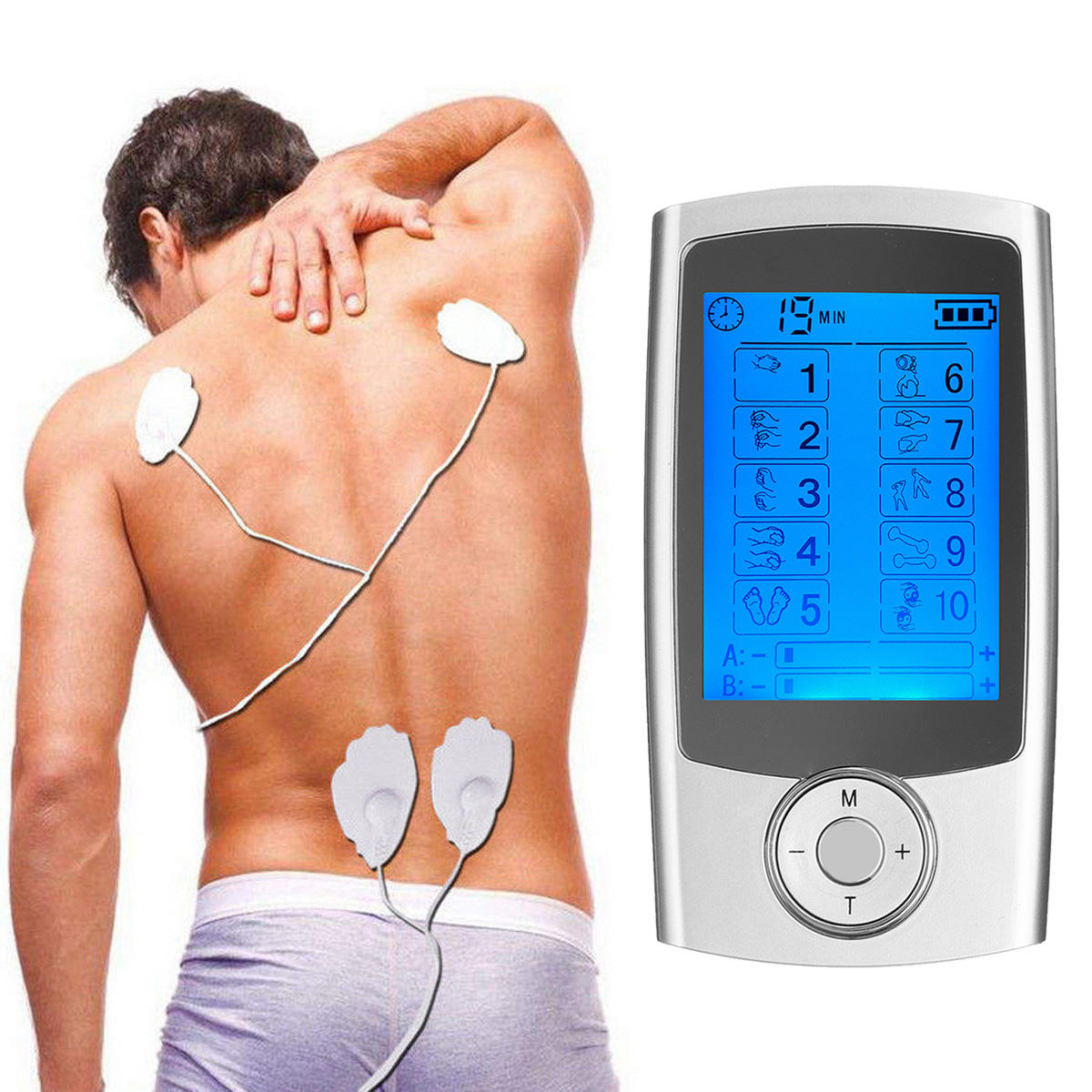 TENS Unit 10 Modes AB Electrotherapy Device Pulse Electric Massager Electrotherapy Pain Relief Therapy