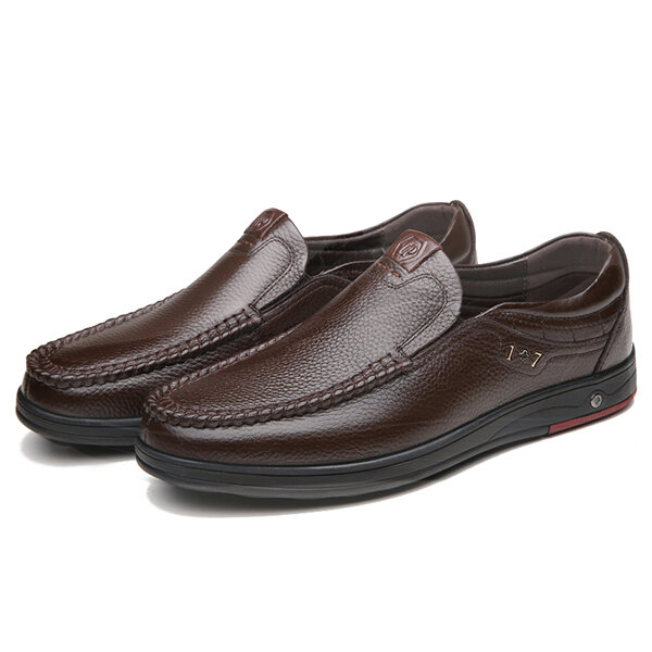 Men Genuine Leather Soft Insole Slip Resistant Casual Business Oxfords - 1