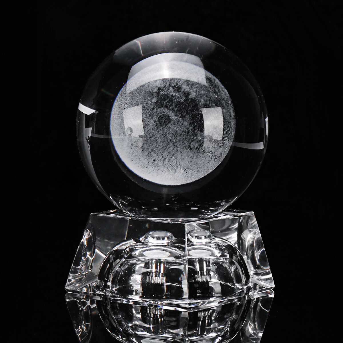 Moon Crystal Ball With Light Effect Base 3D Engraving Colorful Ornaments Crafts Desktop Decorations - 3