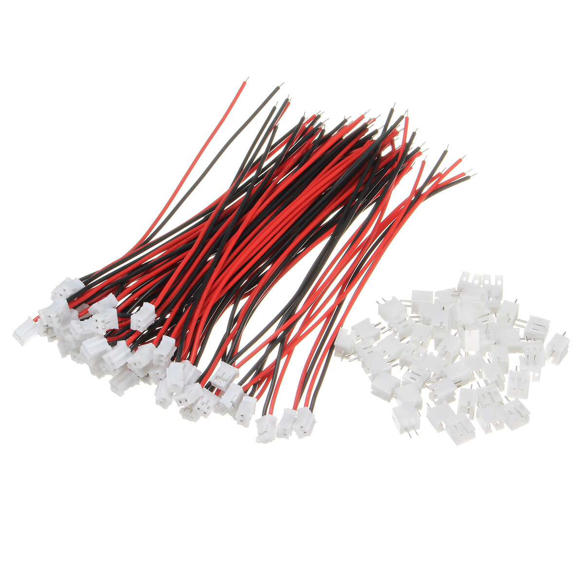 Excellway® 100Pcs Mini Micro JST 2.0 PH 2Pin Connector Plug With 120mm Wires Cables