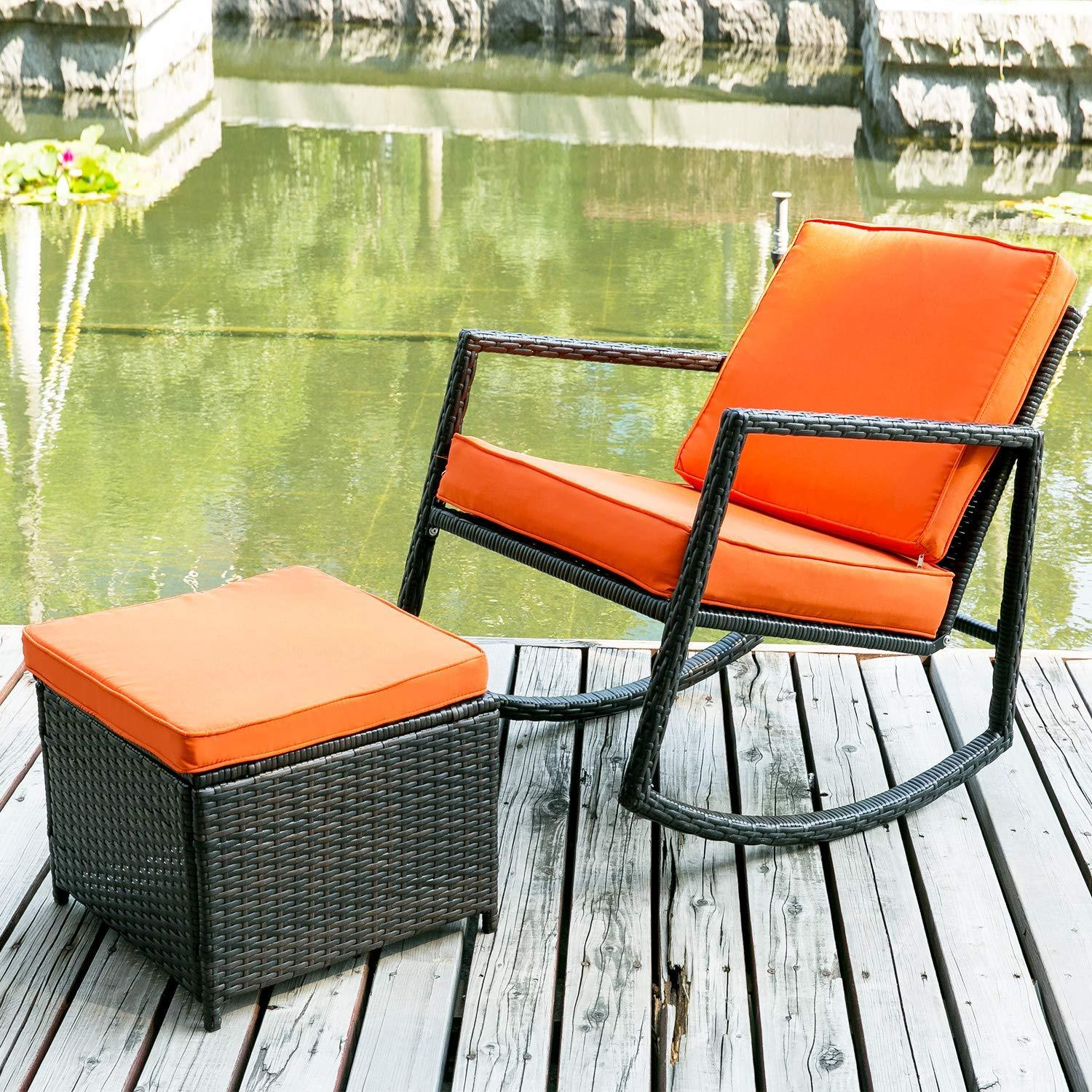 Swell Merax Patio Wicker Rocking Armed Outdoor Garden Lounge Ottoman Rattan Rocker Chair Lazy Sofa Dailytribune Chair Design For Home Dailytribuneorg