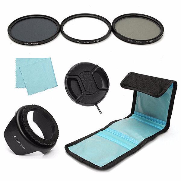 7Pcs 67mm UV CPL Polarizing ND 4 Lens Filter Hood Cap Pouch For Canon Nikon Sony Camera DSLR
