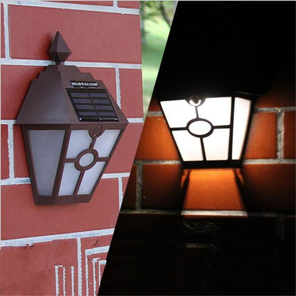 Solar Powered Wall Mount Fence LED Light Landscape Lamp Outdoor Path Yard Garden