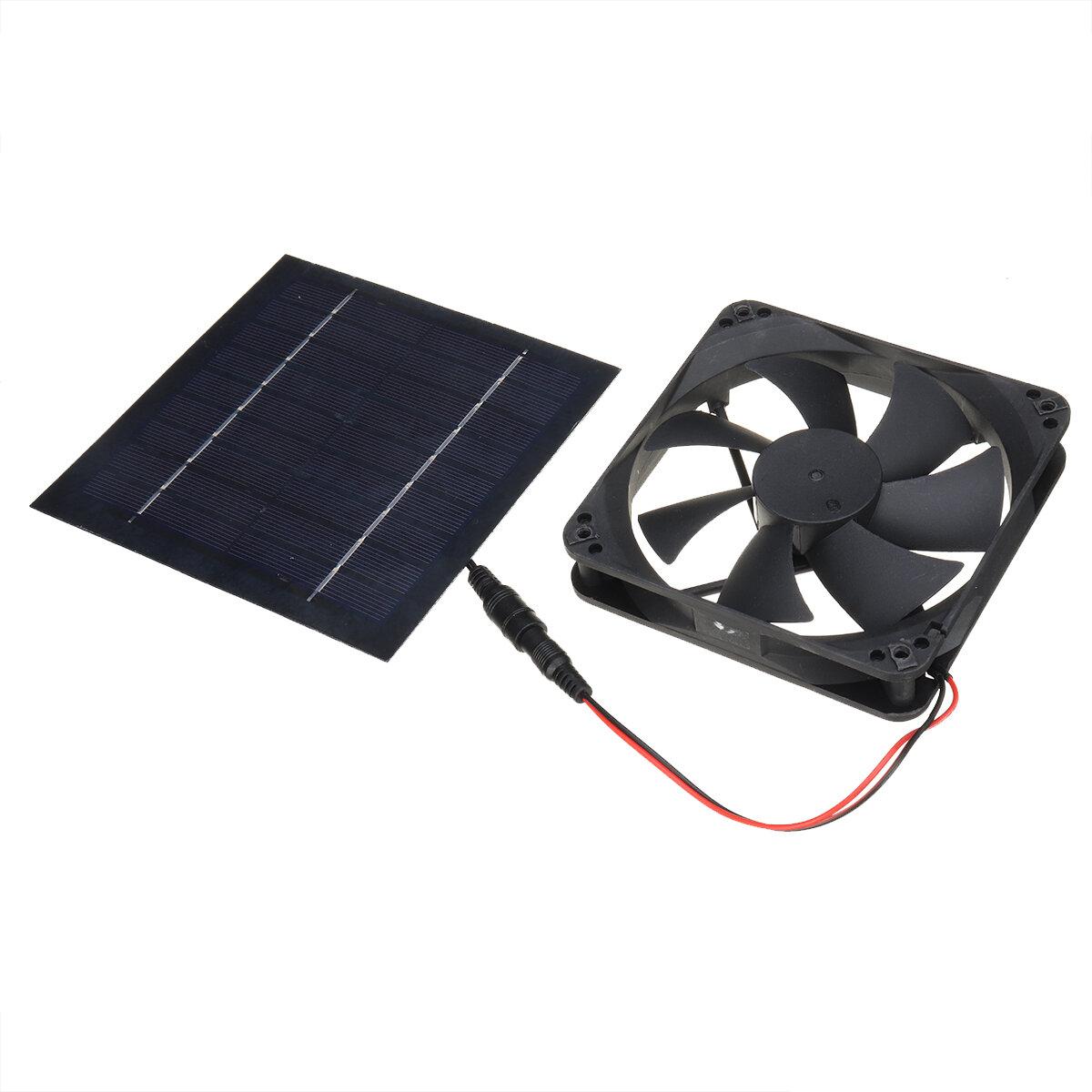 10W Solar Powered Panel Fan Mini Exhaust Ventilator Vent Fan Bathroom Toilet Kitchen