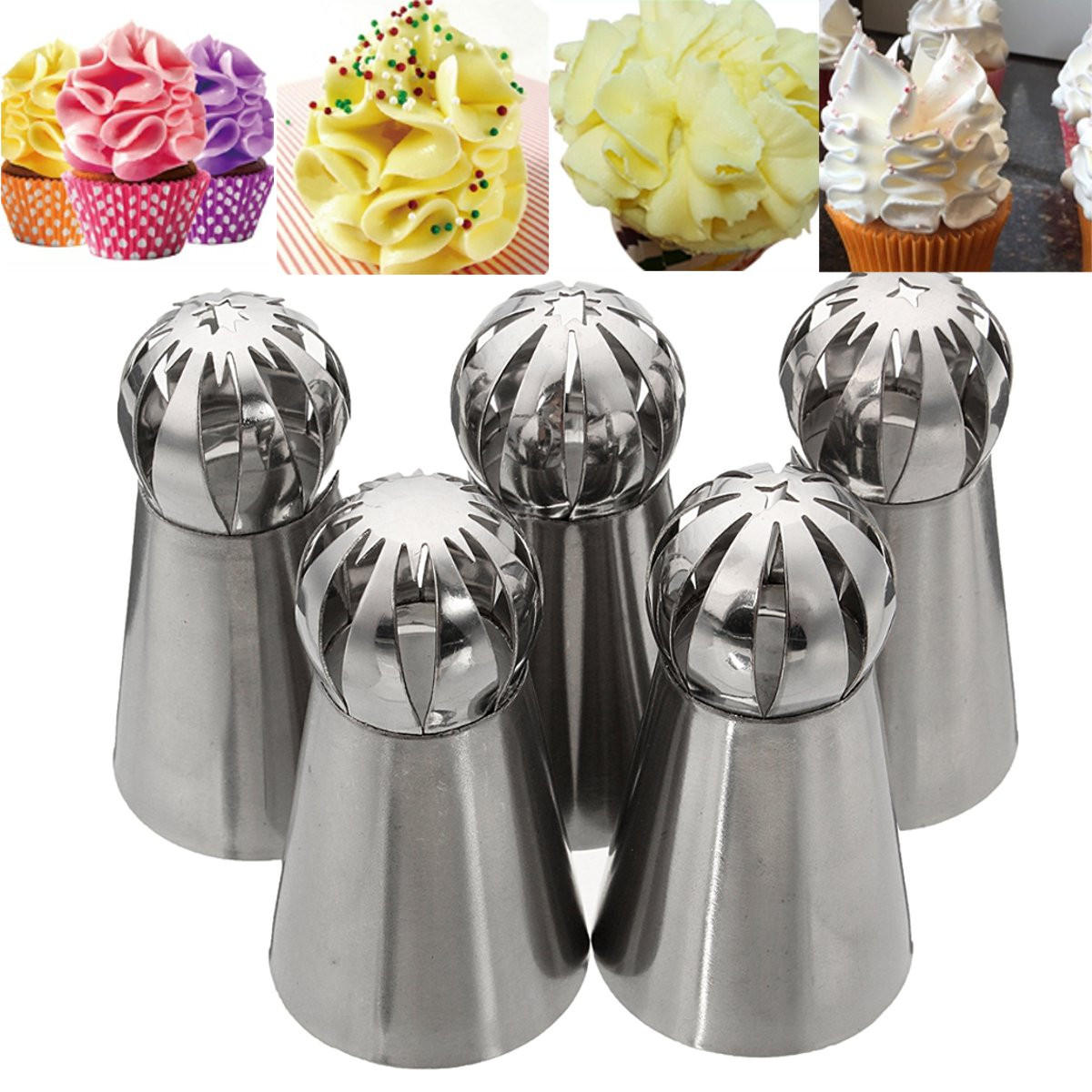 5Pcs Stainless Steel Nozzles Dual Color Lcing Piping Bag Cake Tool Cake Decoration Converter - 5