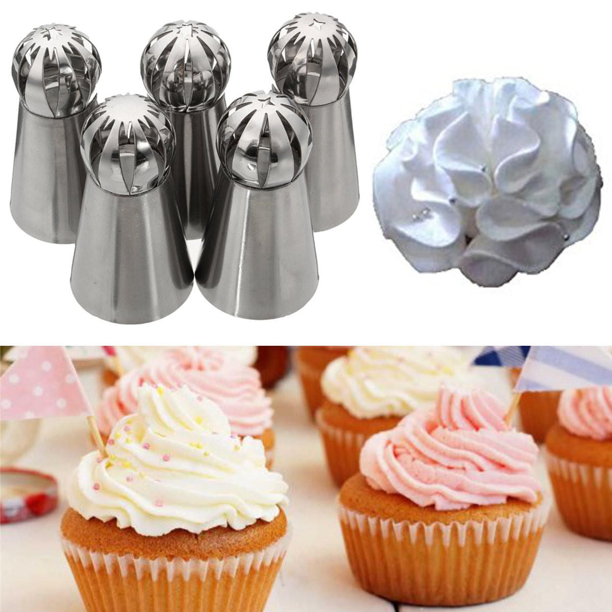 5Pcs Stainless Steel Nozzles Dual Color Lcing Piping Bag Cake Tool Cake Decoration Converter - 4