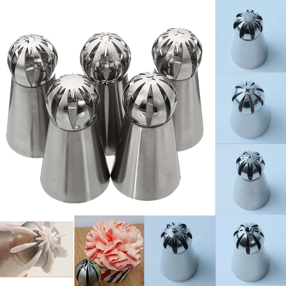 5Pcs Stainless Steel Nozzles Dual Color Lcing Piping Bag Cake Tool Cake Decoration Converter - 6