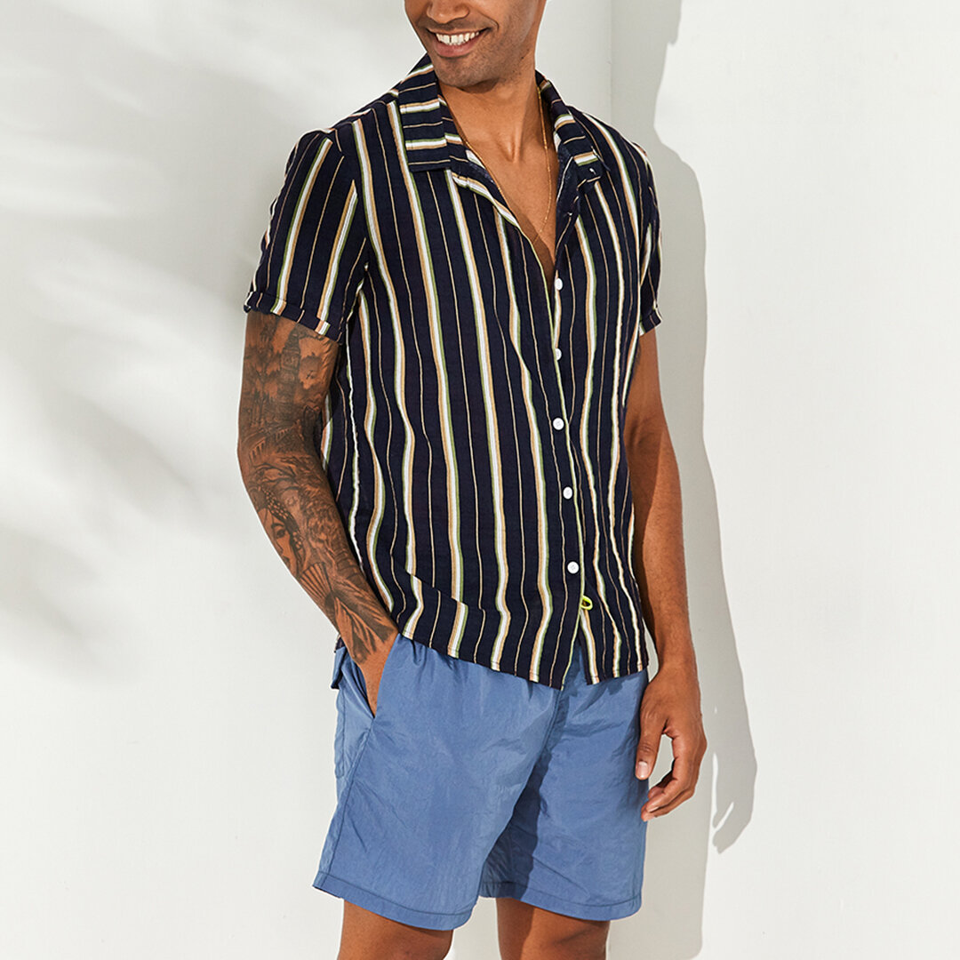 Mens Vertical Striped Summer Short Sleeve Casual Fashion Shirts - 3
