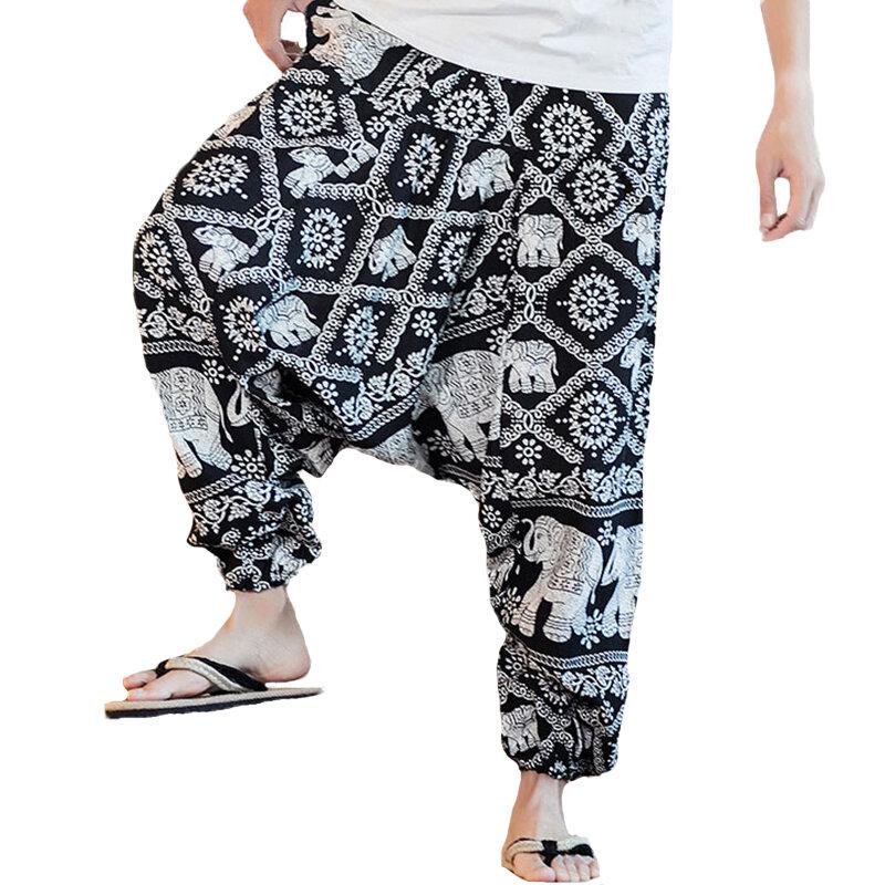 Mens Vintage Solid Color Casual Corduroy Harem Pants - 9