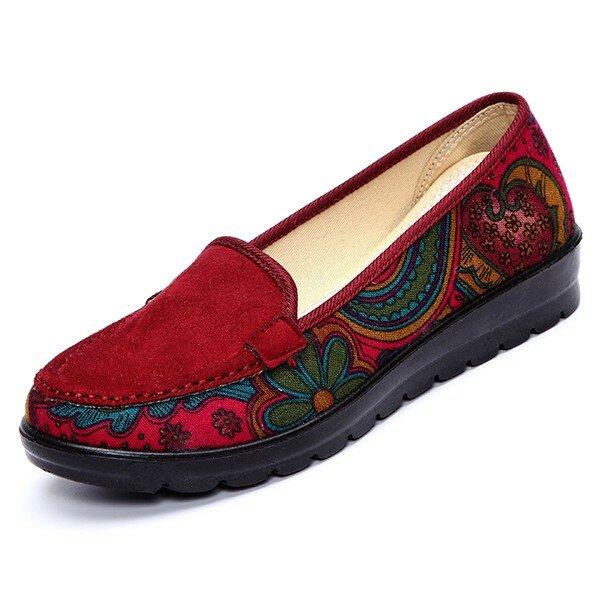 Storlek Kvinnor Casual Flat Loafers Slip-on Andningsskor Soft Sole Shoes
