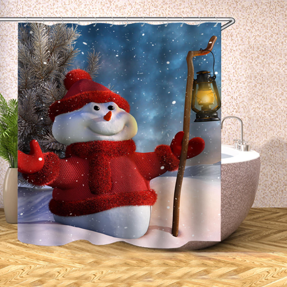 Christmas Decoration Christmas Snowman Shower Curtain Washable Eco Friendly Waterproof Curtain With Plastic Hook