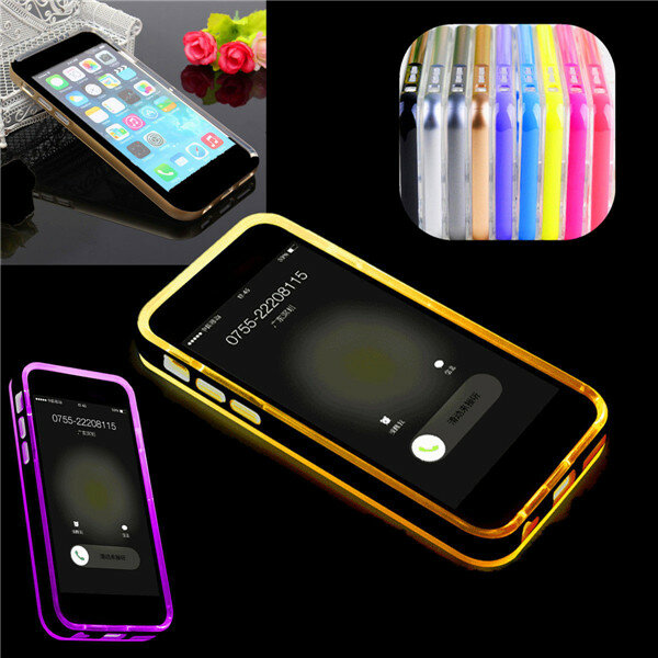 sports shoes 105a4 47b81 LED Flashlight Up Remind Incoming Call LED Blink Cover Case For iPhone 6 6s  Plus 5.5