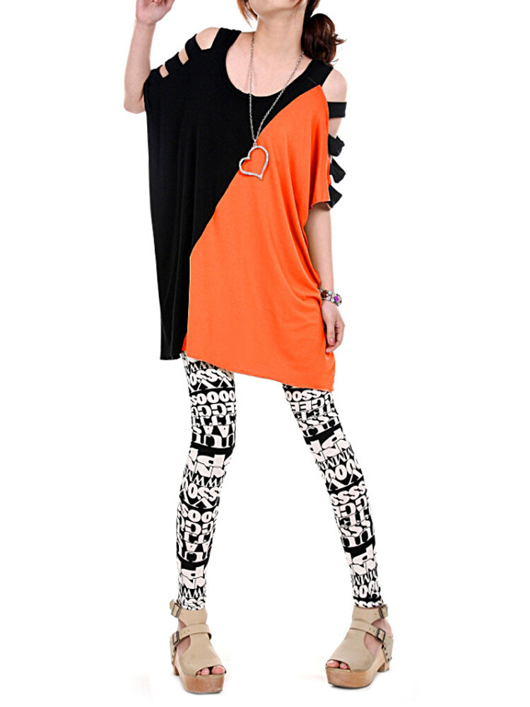 Casual Women Batwing Sleeve Color Block Off-Shoulder O-neck Blouse