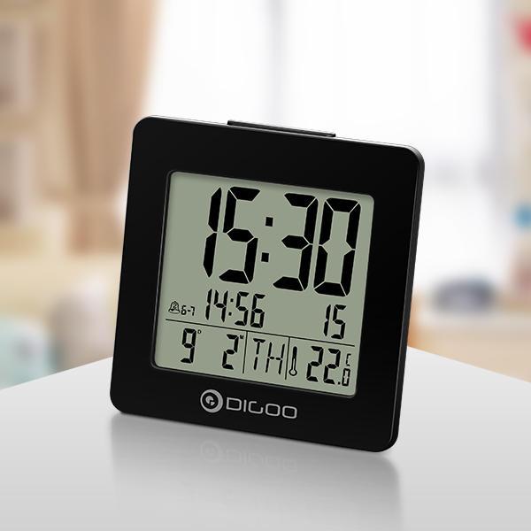 Digoo DG-C2 Hogar Cómodo Interior Digital Azul Retroiluminado LCD Termómetro de Despertador de Escritorio de 3 Modos de Configuración de Alarma