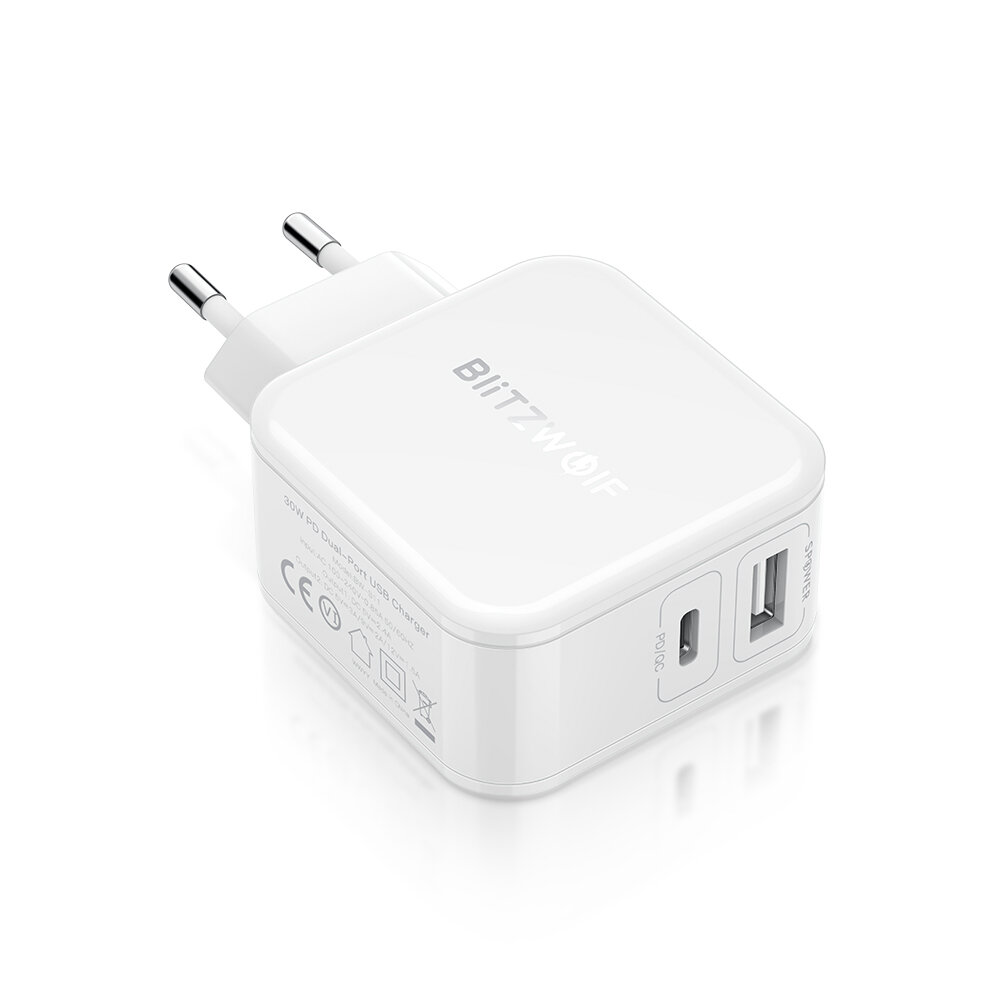 BlitzWolf® BW-S11 30W Type-C PD/QC3.0+2.4A Dual USB Charger EU Adapter for iPhone X XS for Switch Xiaomi Huawi