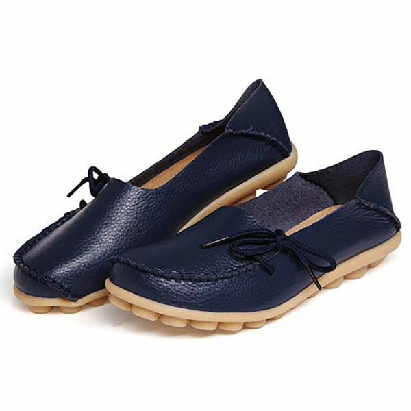 LOSTISY US Size 5 13 Women Soft Comfortable Lace Up Breathable Casual Leather Flats Shoes - 9