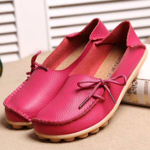 LOSTISY US Size 5 13 Women Soft Comfortable Lace Up Breathable Casual Leather Flats Shoes - 3
