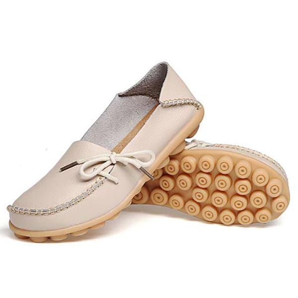 LOSTISY US Size 5 13 Women Soft Comfortable Lace Up Breathable Casual Leather Flats Shoes - 8