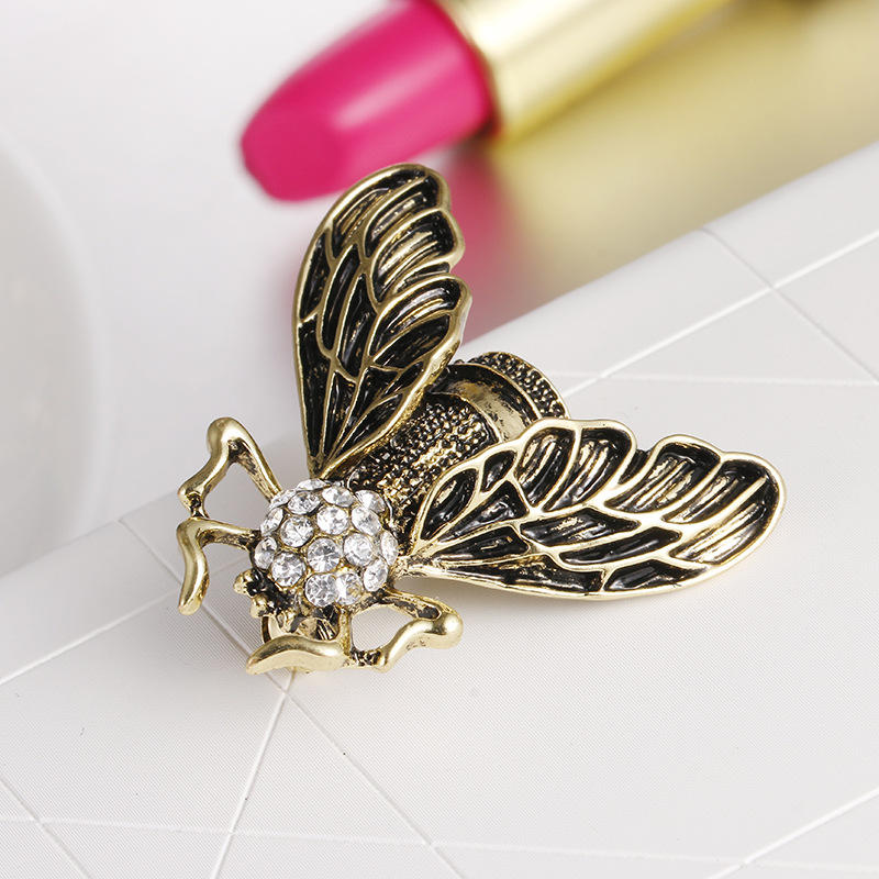 Vintage Cicada Insect Brooch Pins Steampunk Bronze Rhinestone Enamel Brooches Costume Jewelry - 5