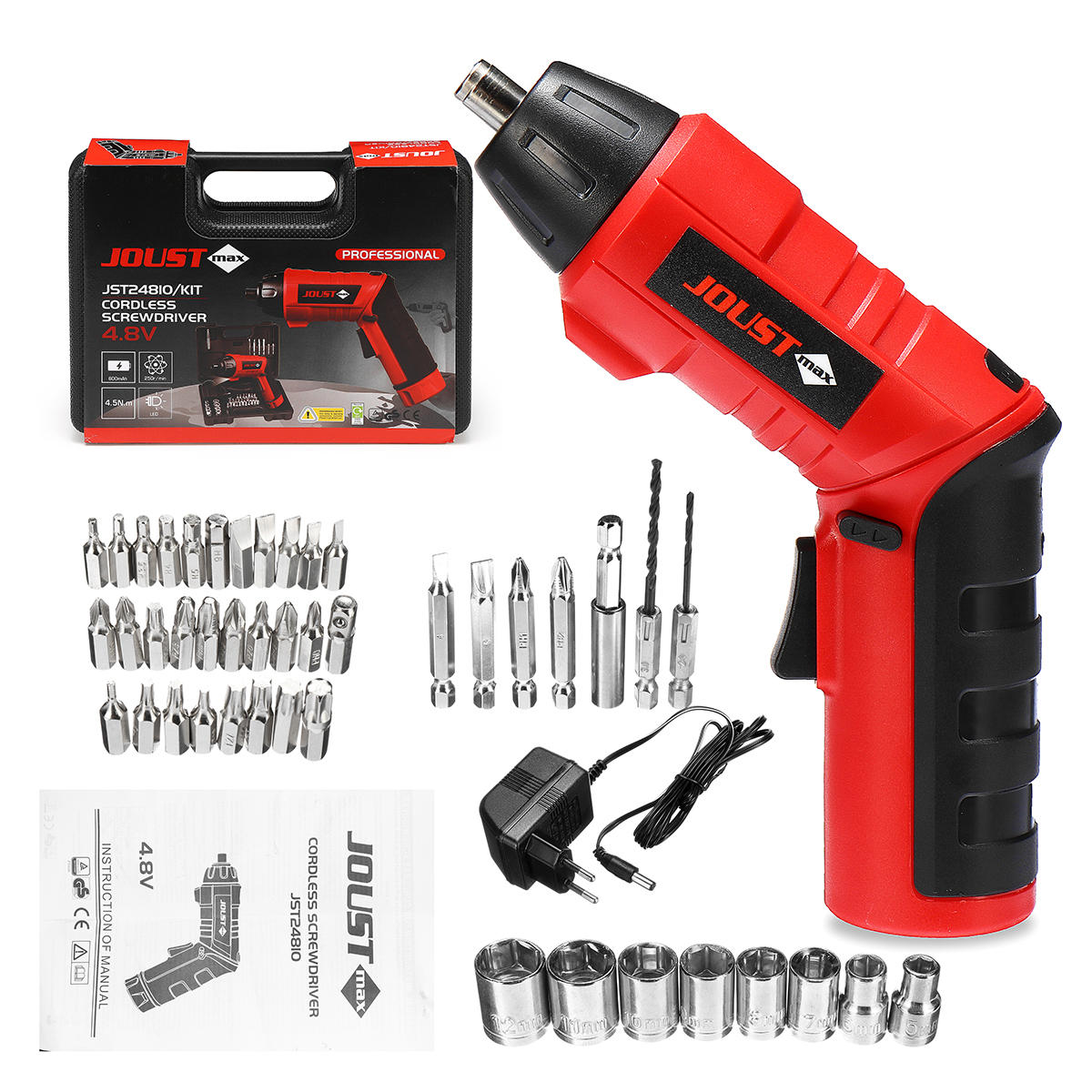 Tonfon 3.6V Cordless Electric Screwdriver USB Rechargable Power Screw Driver with Screw Bits - 1