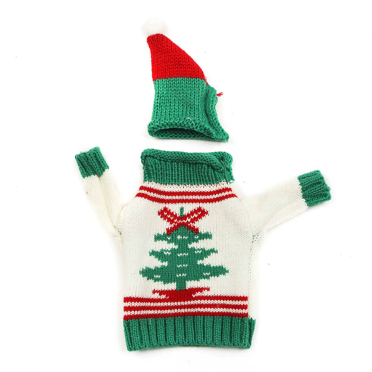 Christmas Knitted Sweater Lid Hat Wine Bottle Cover Wrap Bag Xmas Decoration - 7
