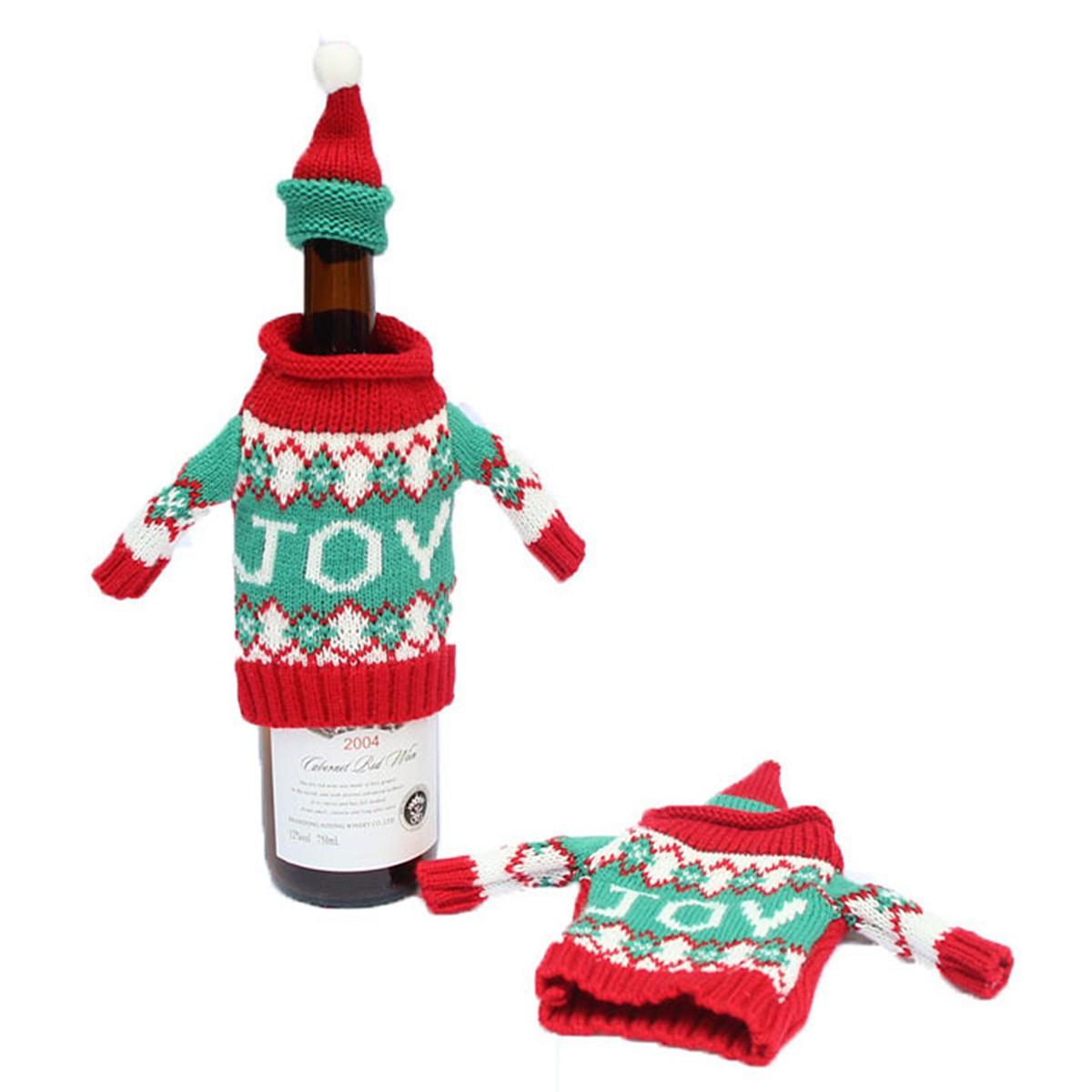 Christmas Knitted Sweater Lid Hat Wine Bottle Cover Wrap Bag Xmas Decoration - 5