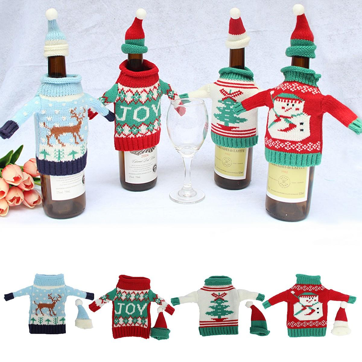 Christmas Knitted Sweater Lid Hat Wine Bottle Cover Wrap Bag Xmas Decoration - 3