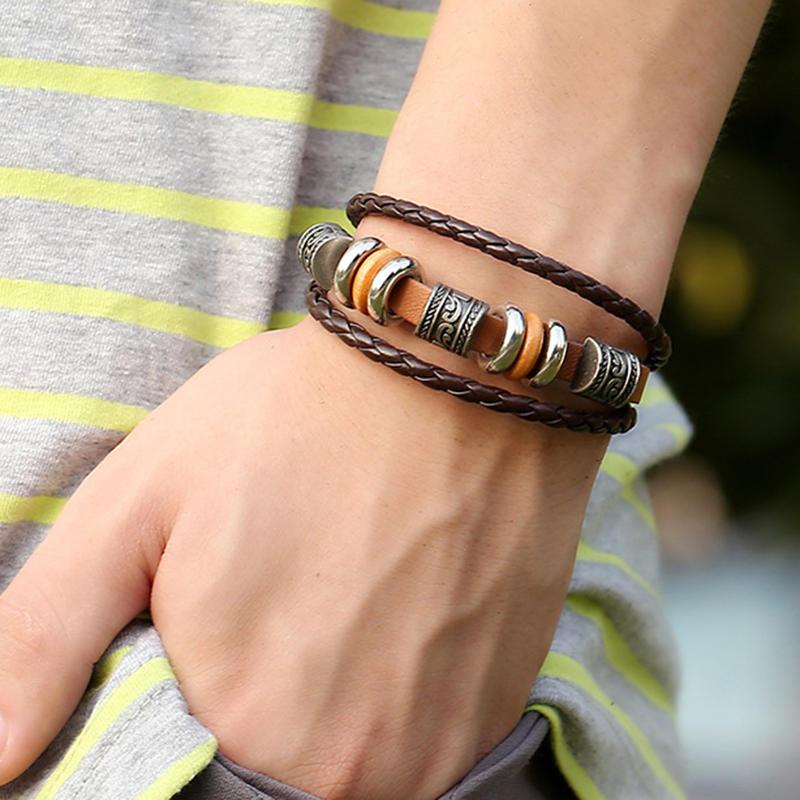 Vintage Leather Wave Braid Bracelet Beaded Multilayer Bracelet Ethnic Jewelry Unisex