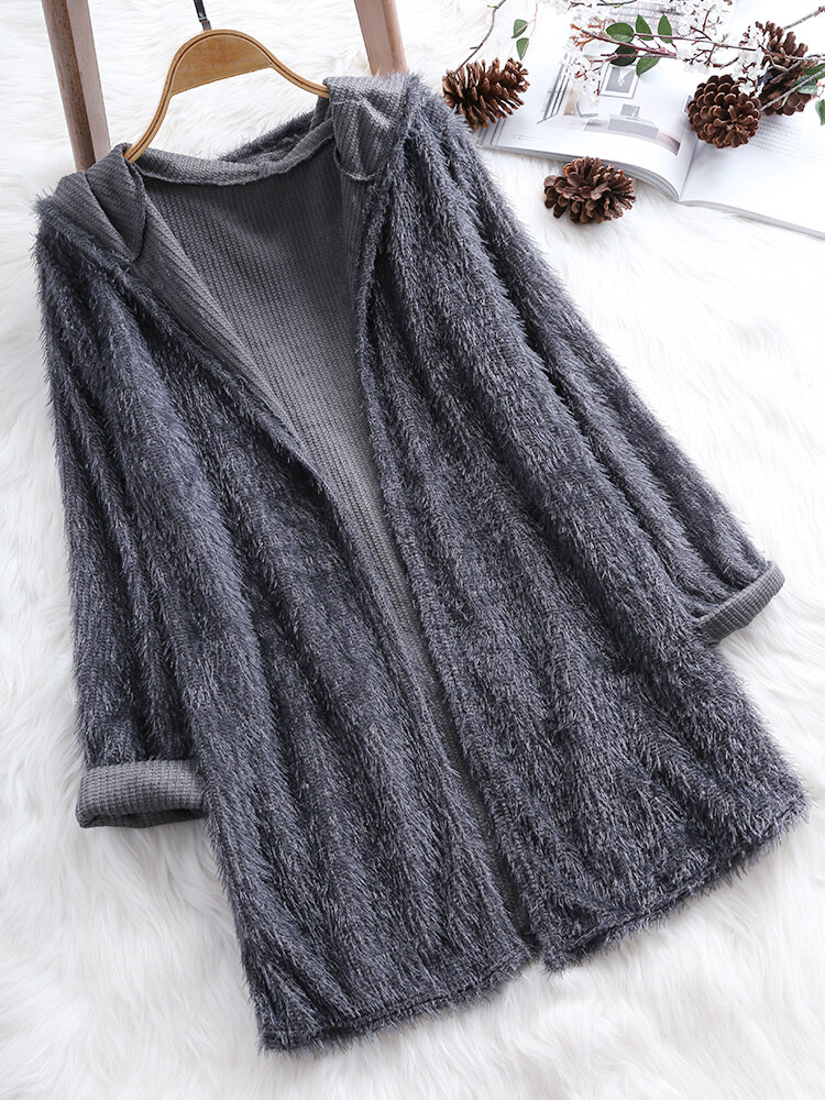 Long Sleeve Pockets Pure Color Loose Cardigans For Women - 8