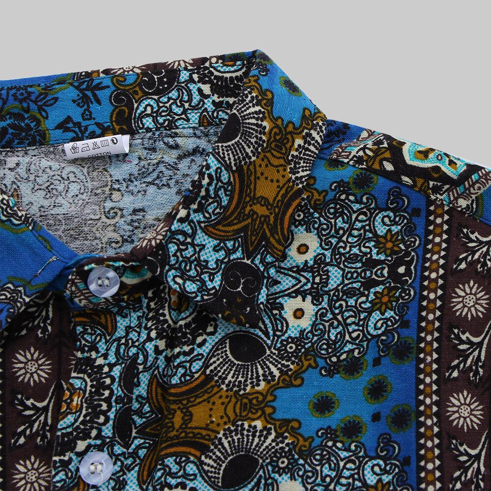 Camicie di moda casual stampate stile etnico vintage da uomo - 8