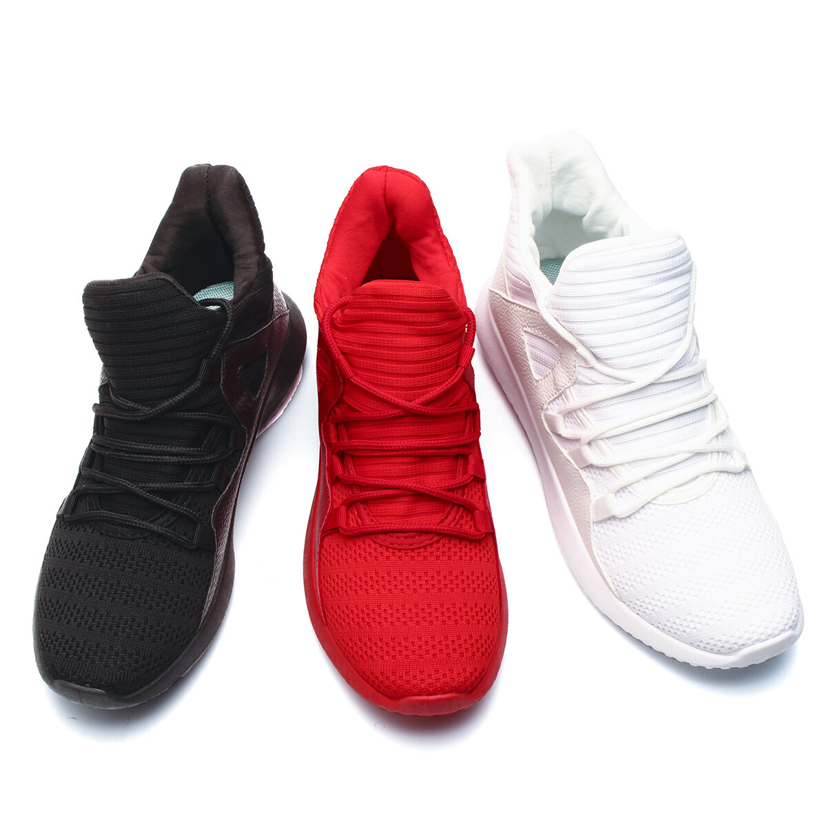 Men Microfiber Leather Stitching Soft Lace Up Running Sneakers Waterproof Non-Slip Fashion Shoes - 1
