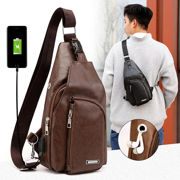 Men Outdoor Resistant Anti Theft Chest Bag Travel Daypack with USB Charging Port