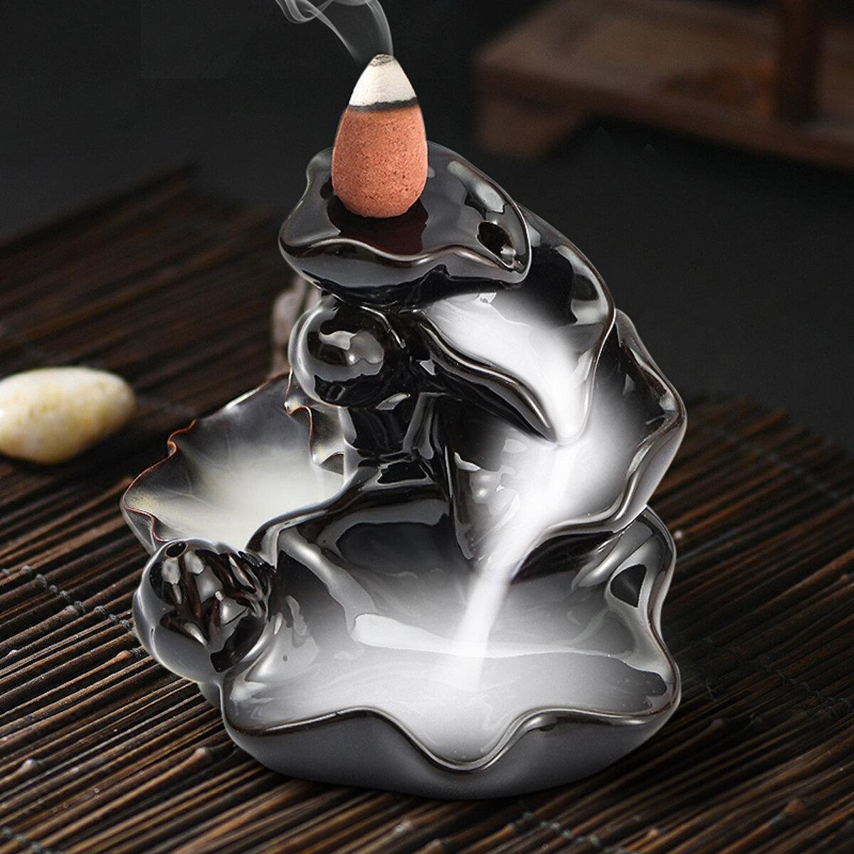逆流香コーンバーナーホルダーセラミックロータス香り香りのある煙逆流ホーム香炉の装飾