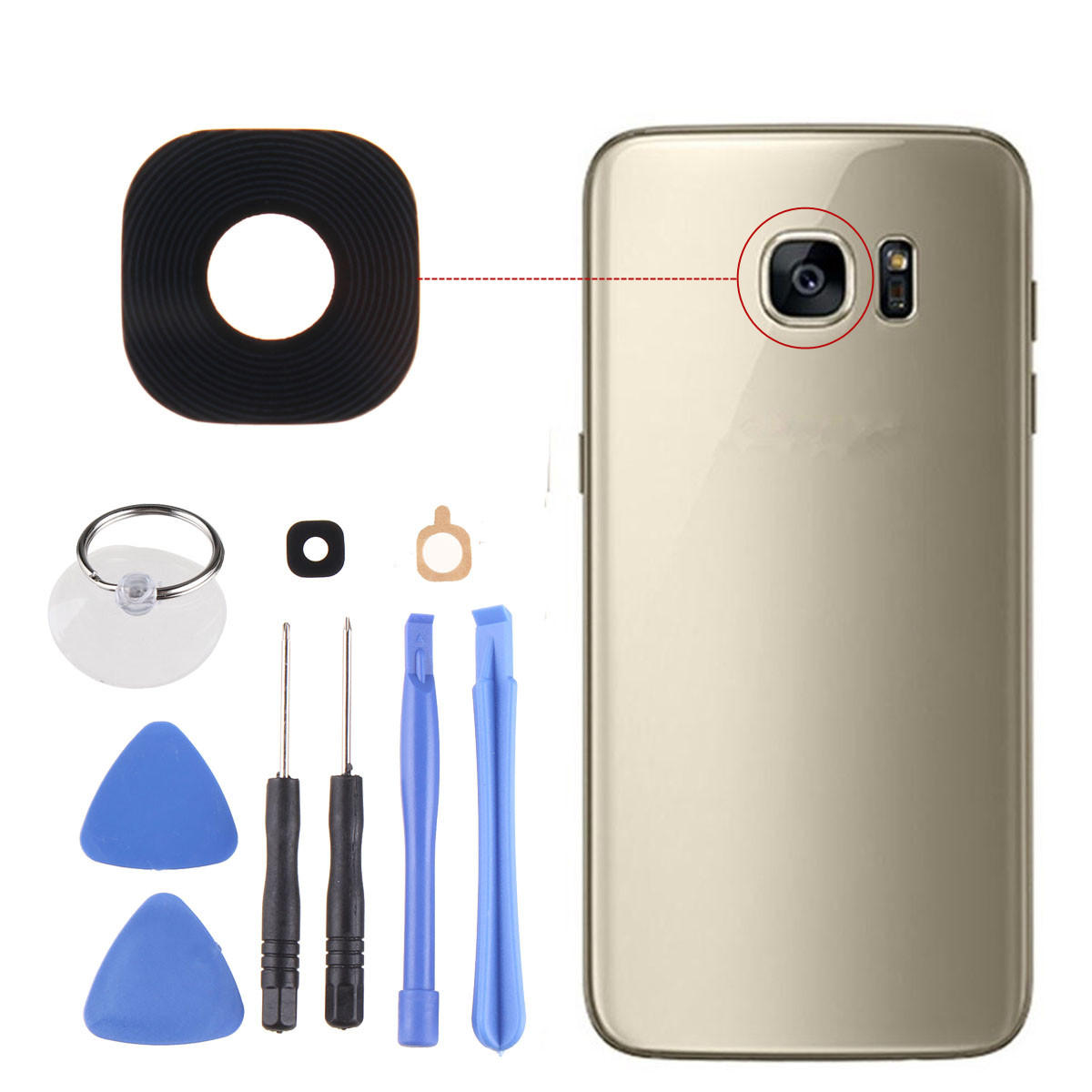 sports shoes 2f9c6 1c38d Black Rear Camera Glass Adhesive Lens Cover + Tools for Samsung Galaxy S7  Edge